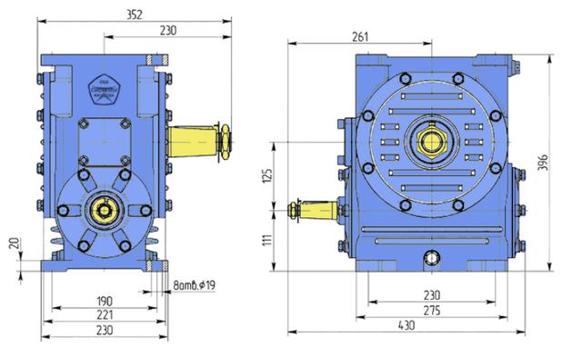 Габаритные размеры редуктора Ч-125 чертеж