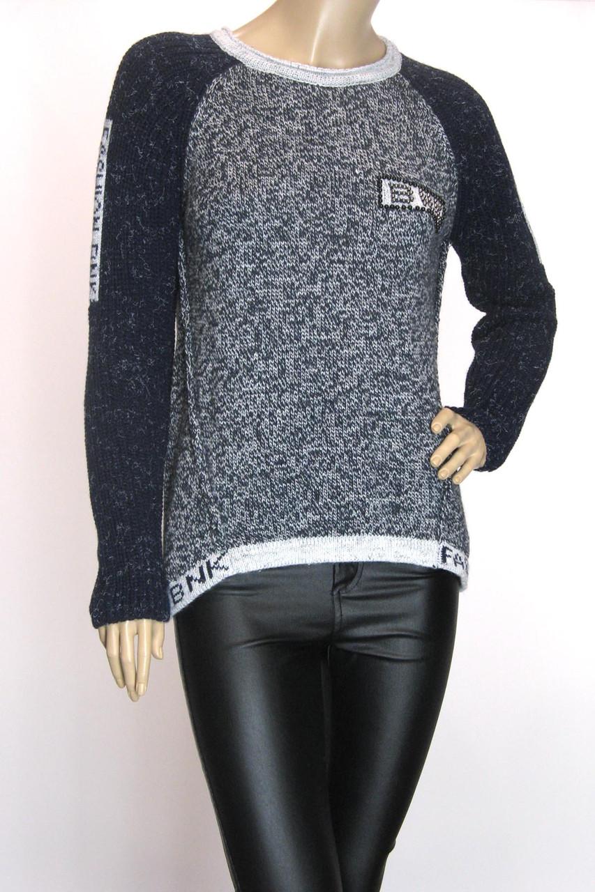 Свитер пуловер со съемным воротником