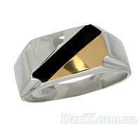"""Чоловічий срібний перстень із золотою пластиною """"Класик"""", фото 1"""