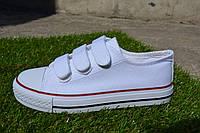 Детские подростковые кеды converse all star на липучках белые, копия, фото 1