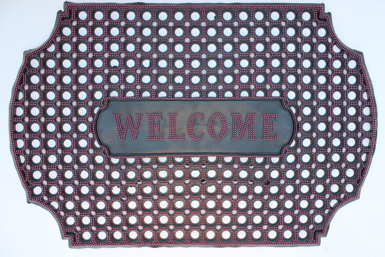 """Резиновый коврик """"Welcome"""" 60х90 (розовый) придверный"""