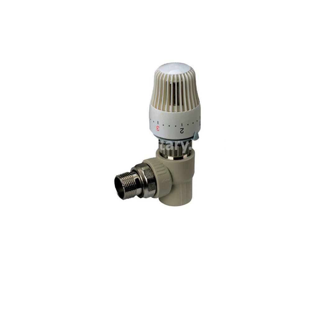 KOER кран термостатический с термоголовкой угловой 25x3/4  для пайки полипропиленовых труб PPR