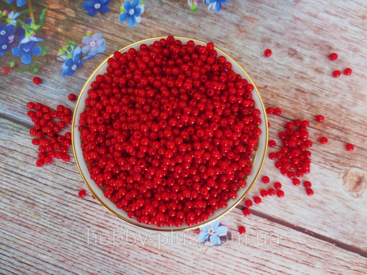 Жемчуг искусственный, 4 мм, цвет бордовый, 5 грамм.