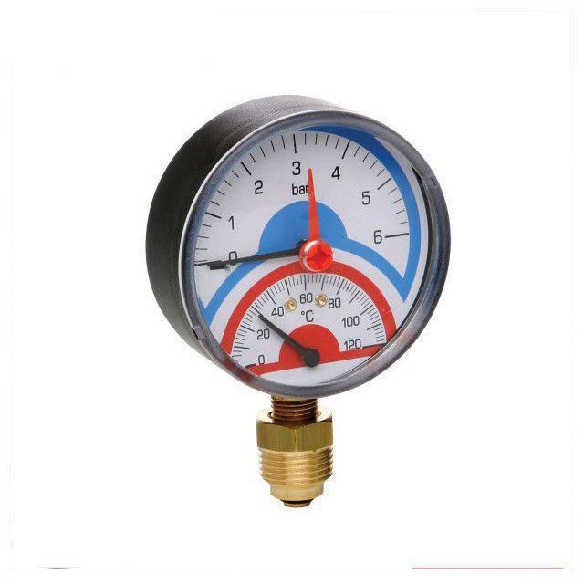 """Термоманометр Sanlux 120° 1/4""""X1/2""""(Вертикальный)"""