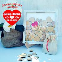 Рамка для пожеланий на 35 сердечек (белая)