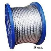 Трос в полиэтиленовой оплетке 6 мм DIN3055 оцинкованный 100м