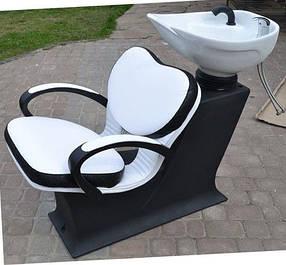 Мойка парикмахерская Леди Клио керамика Украина Гарсон белая, кожзаменитель Boom-01+24 (Frizel TM)
