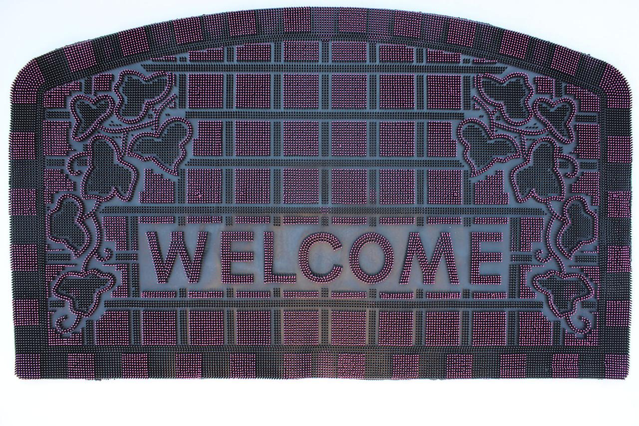 """Резиновый коврик """"Welcome"""" 45х75 (розовый)"""