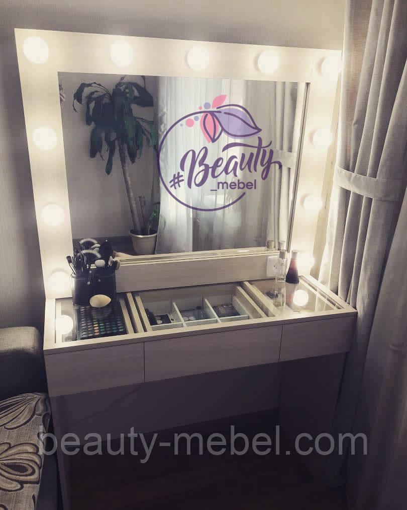 Гримерный стол со стеклянной столешницей, зеркало с лампами