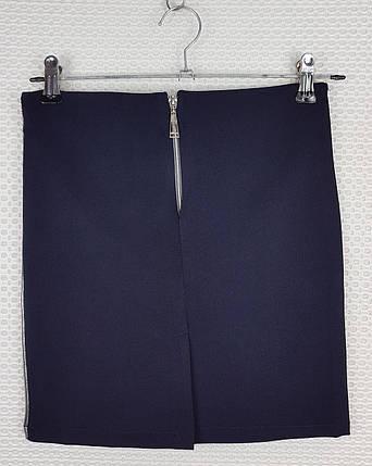 Классическая школьная юбка карандаш темно-синяя с лампасом  р 140-164, фото 2