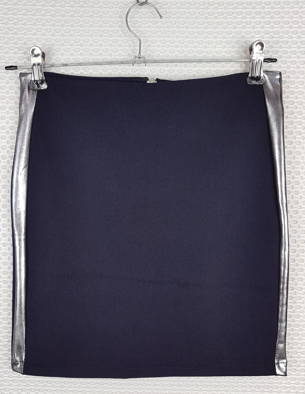 Классическая школьная юбка карандаш темно-синяя с лампасом  р 140-164