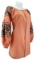 Блуза на персиковом льне. Вышиванка. Модная, необычная с шикарной вышивкой.