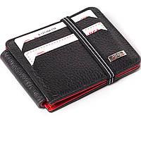 Кошелек кардхолдер кожаный черный с красным Butun 121-004-039