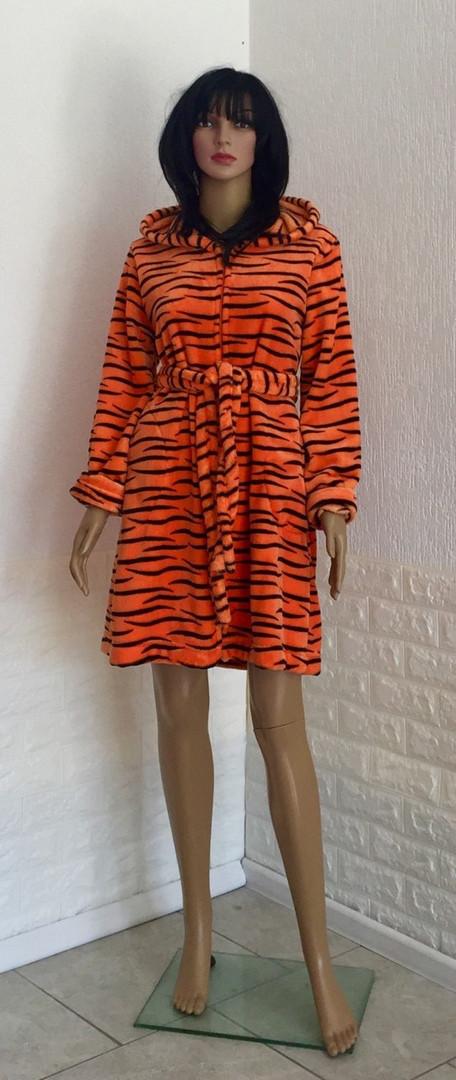 Халат тигровый с капюшоном на молнии