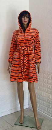 Халат тигровый с капюшоном на молнии, фото 2