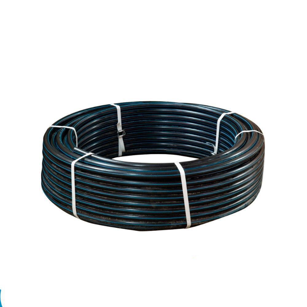 Труба d50*3,7 PN10 ПЭ80 полиэтиленовая Акведук черная с синей полосой питьевая