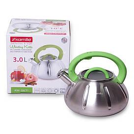Чайник Kamille Зеленый 3л из нержавеющей стали со свистком и стеклянной крышкой для индукции и газа KM-0671