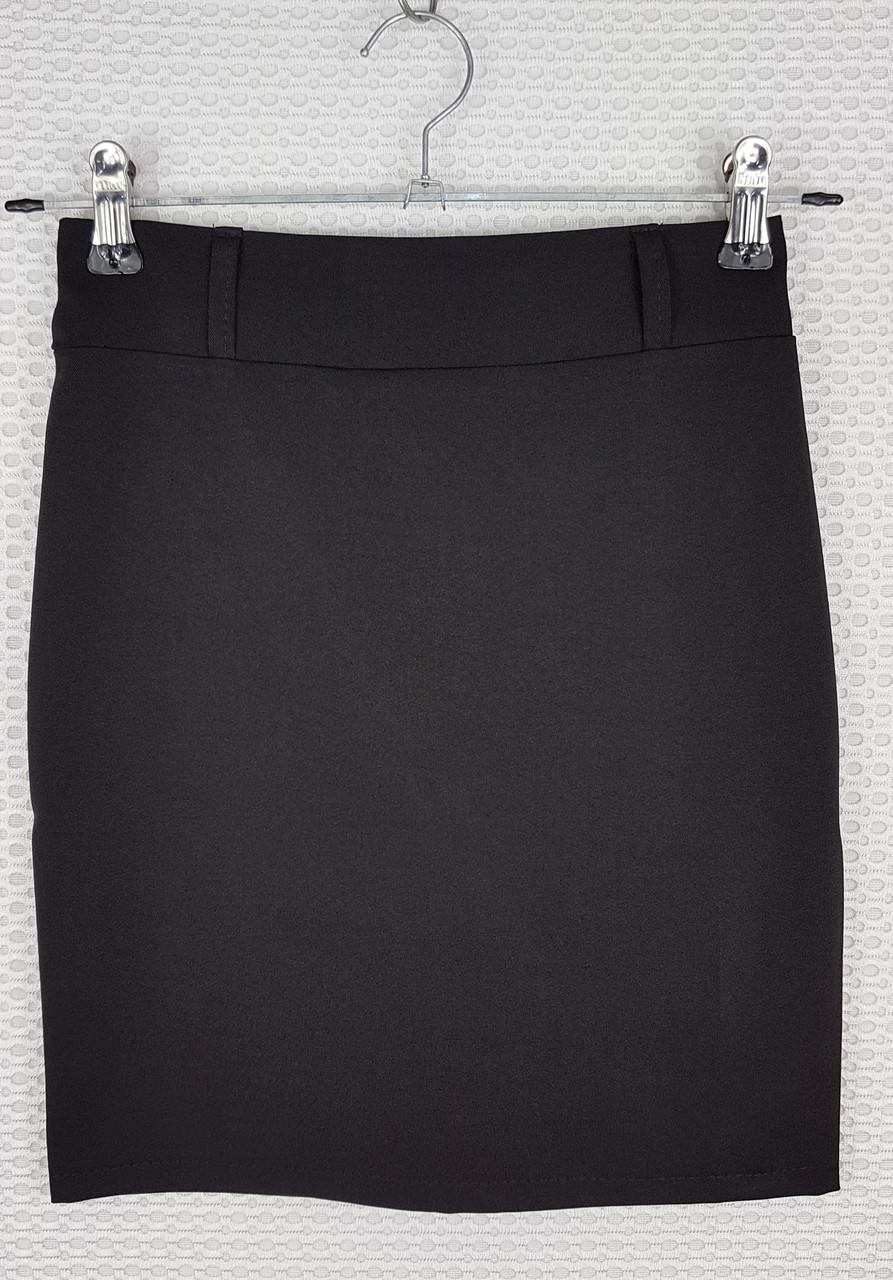 Классическая школьная юбка карандаш черная  р 140-164