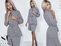 Женский костюм в клетку пиджак + юбка