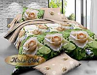 """Полуторный комплект постельного белья """"Чайная роза""""."""