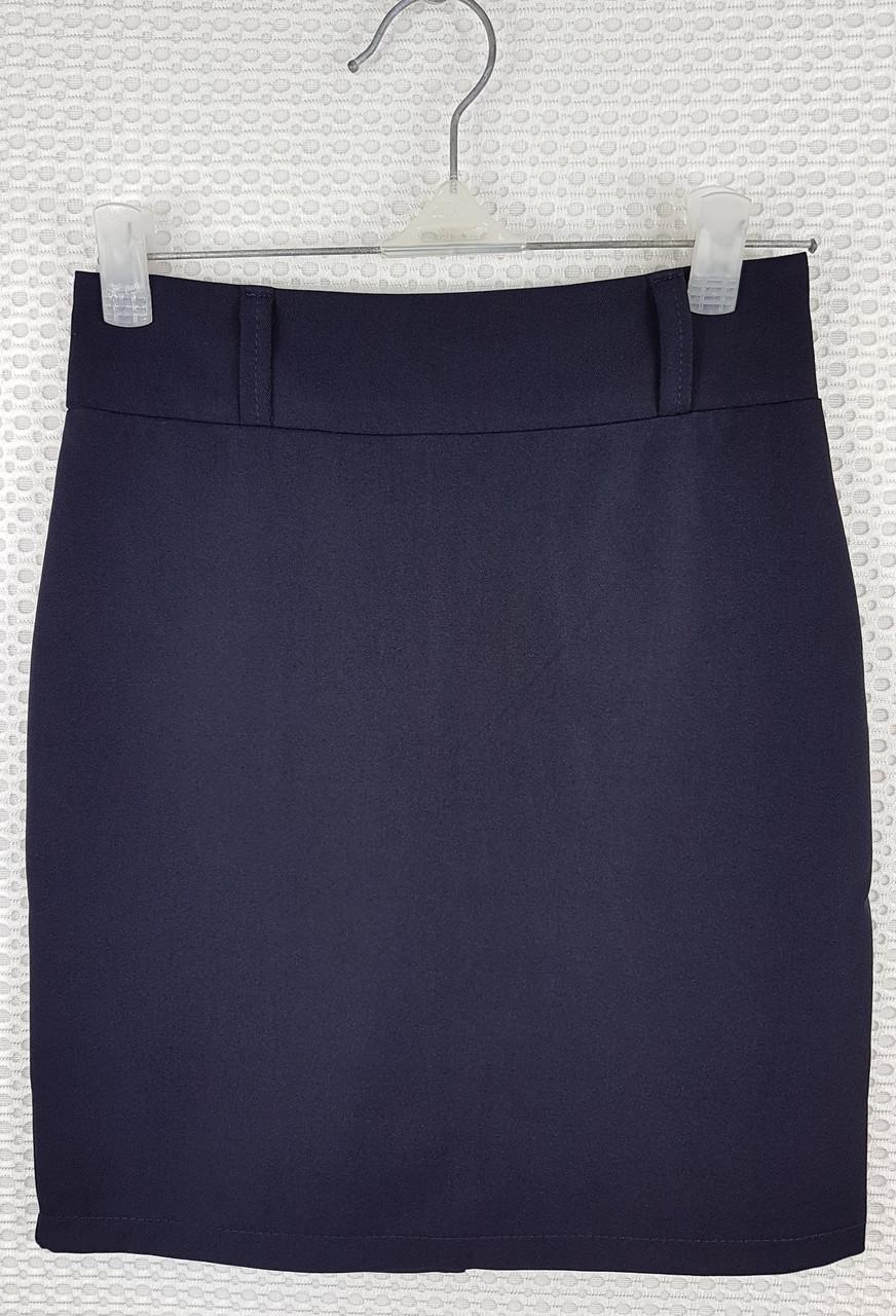 Классическая школьная юбка карандаш темно-синяя  р 140-164