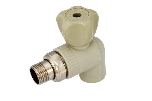Кран радиаторный угловой 20*1/2 для пайки полипропиленовых труб PPR
