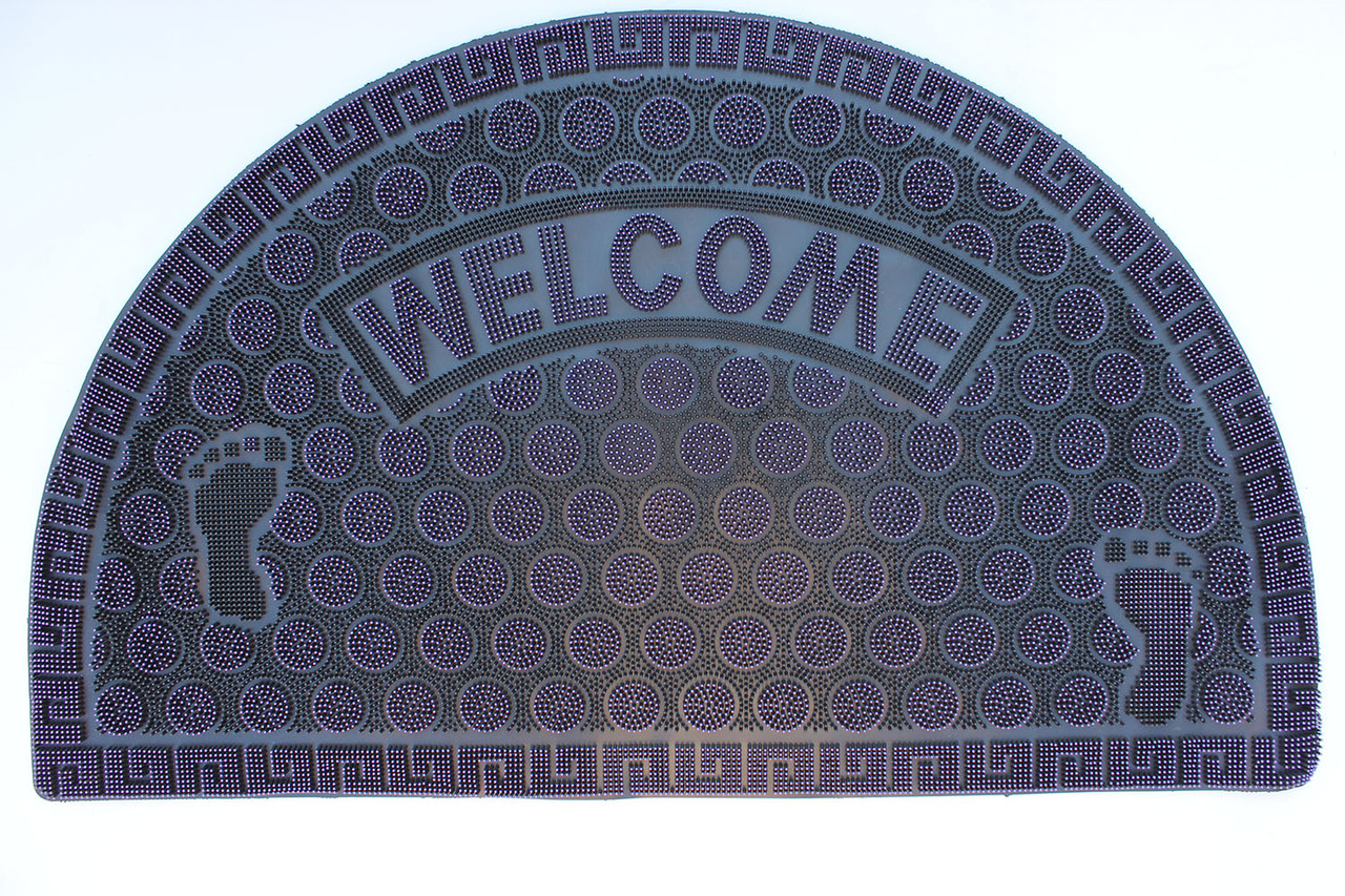 """Резиновый коврик """"Welcome"""" 45х75 (розовый) овальный"""