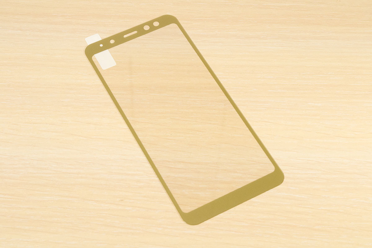 Защитное стекло Silk Screen для Samsung A8 2018 A530 тех.пакет (Gold)
