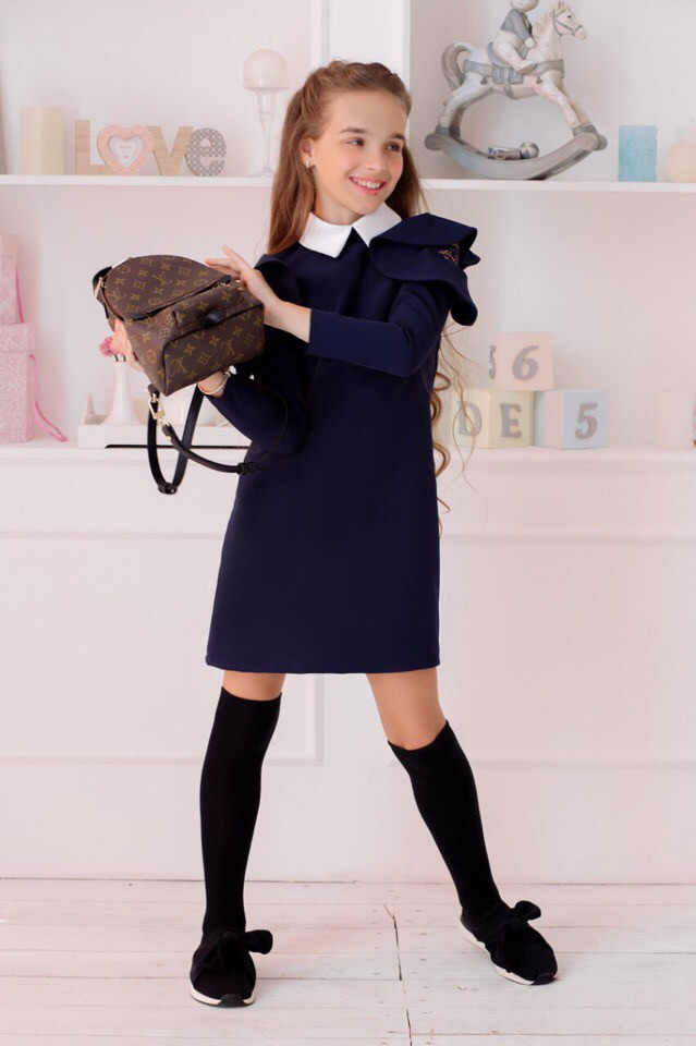 Школьное платье вставка гипюр 22421