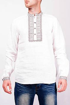 Біла чоловіча вишиванка великих розмірів від S до 4XL