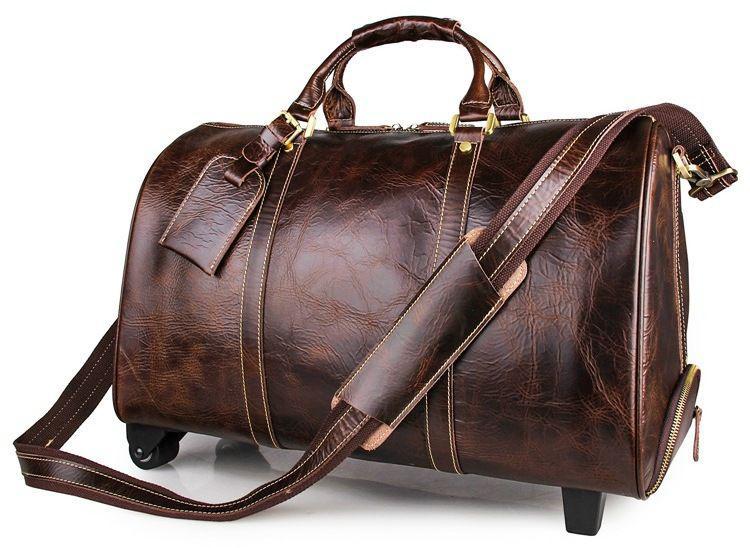 62151f4b4a87 Сумка на колесах дорожная Vintage из качественной натуральной кожи в  коричневом цвете 14254 - Интернет-