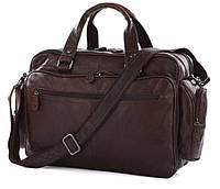Функциональная кожаная сумка мужская для командировок в коричневом цвете Vintage 14055