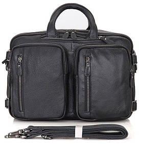 Деловая наплечная мужская сумка в черном цвете из натуральной кожи Vintage 14058