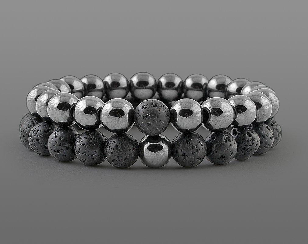 Браслеты для влюбленных из натурального камня гематит и лава