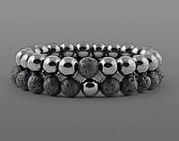 Браслеты для влюбленных из натурального камня гематит и лава, фото 1