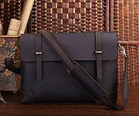 Портфель деловой мужской Vintage из натуральной кожи в темно коричневом цвете 14237