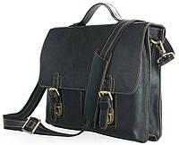 Портфель для мужчин горизонтальный, деловой Vintage из натуральной кожи в темно коричневом цвете 14248