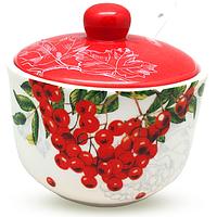 Сахарница с ложкой 450мл 'Калина красная' (d-11см, h-7,5 см)