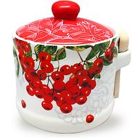 Банка для меда с деревянными ложкой 'Калина красная' (h-8,5 см, d-10см, об-м 420мл)
