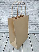 Крафт пакет з плоским дном та крученими ручками бурий 280*190*115
