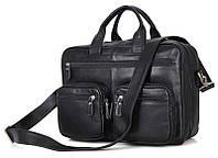 465f8e38e6fc Горизонтальная деловая мужская сумка из натуральной кожи в черном цвете  Vintage 14419