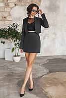 Черный Костюм пиджак + юбка, фото 1