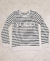 Стильный женский свитшот кофта полоска Турция черный
