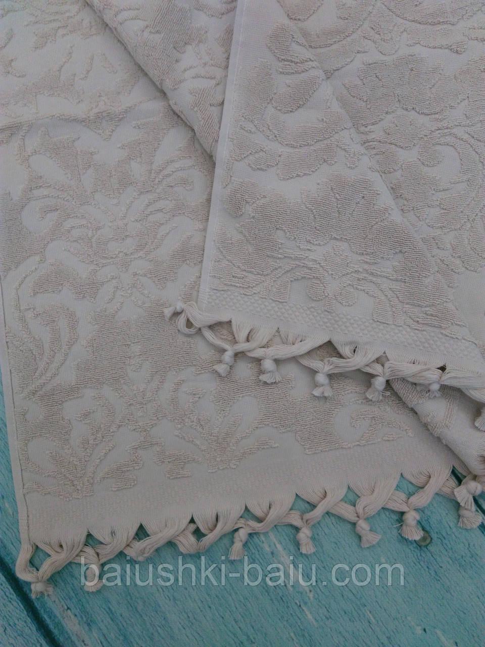 Банное турецкое полотенце с кисточками Pupilla, 70х140