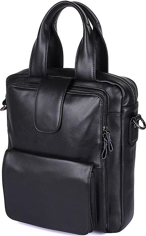3daa8dc0b4b9 Деловая сумка мужская из натуральной кожи в классическом черном цвете  Vintage 14479