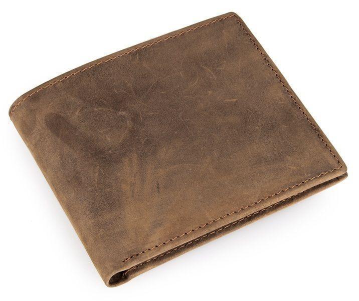 Компактный кошелек с кредитницей мужской в винтажном стиле коричневого цвета Vintage 14226