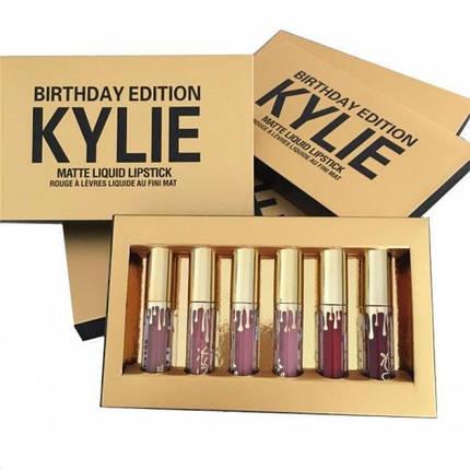 Жидкая матовая помада Kylie Birthday Edition (6 шт) реплика, фото 2