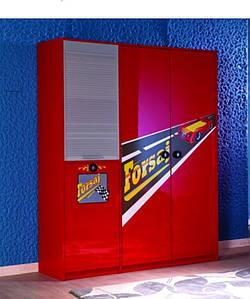 Детский Шкаф 3-дверный Форсаж красный