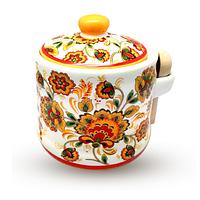 Банка для меда с деревянными ложкой 'Цветочная роспись' (h-8,5 см, d-10см, об-м 420мл)
