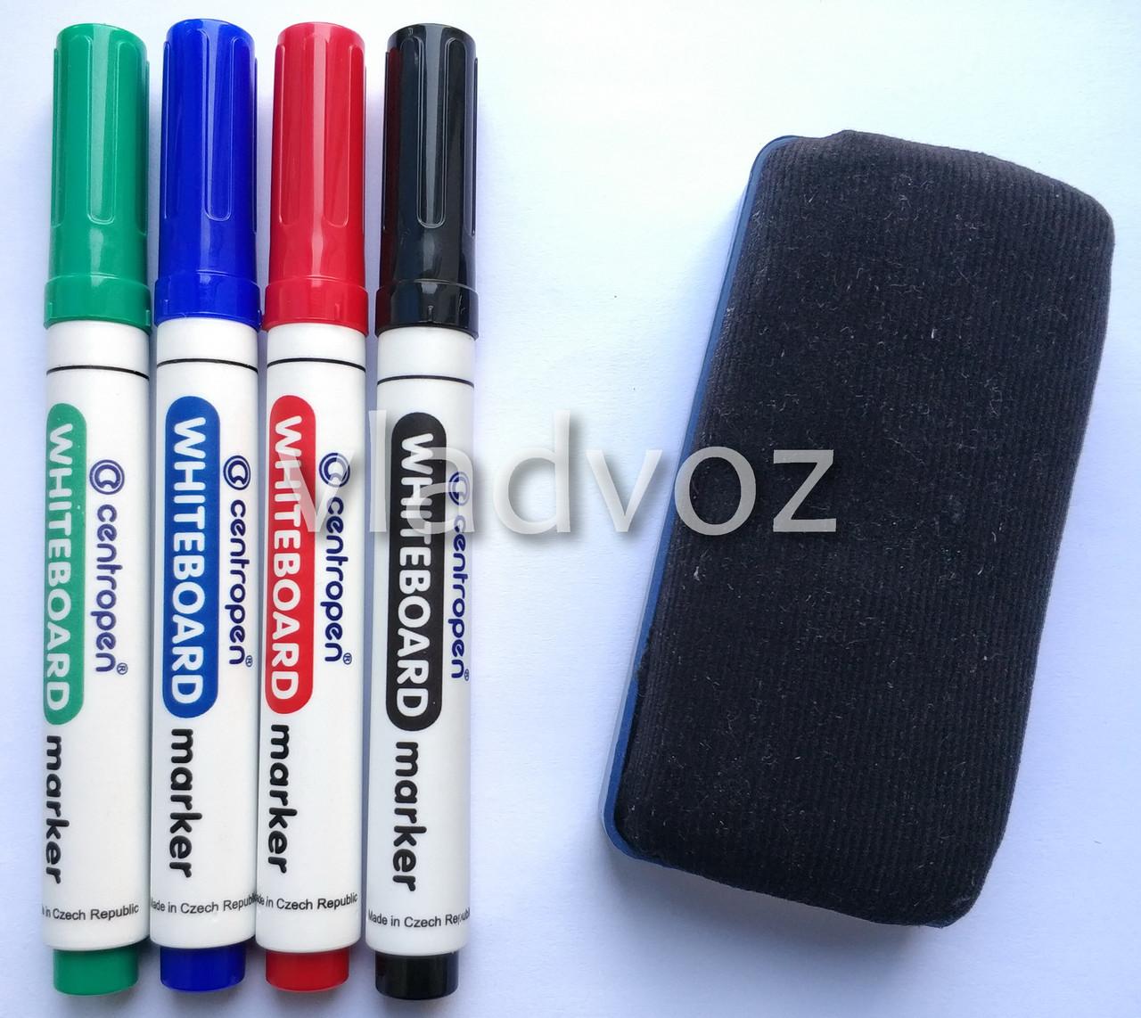 Набор 4 маркера для белой доски флипчарта с губкой Чехия Centropen